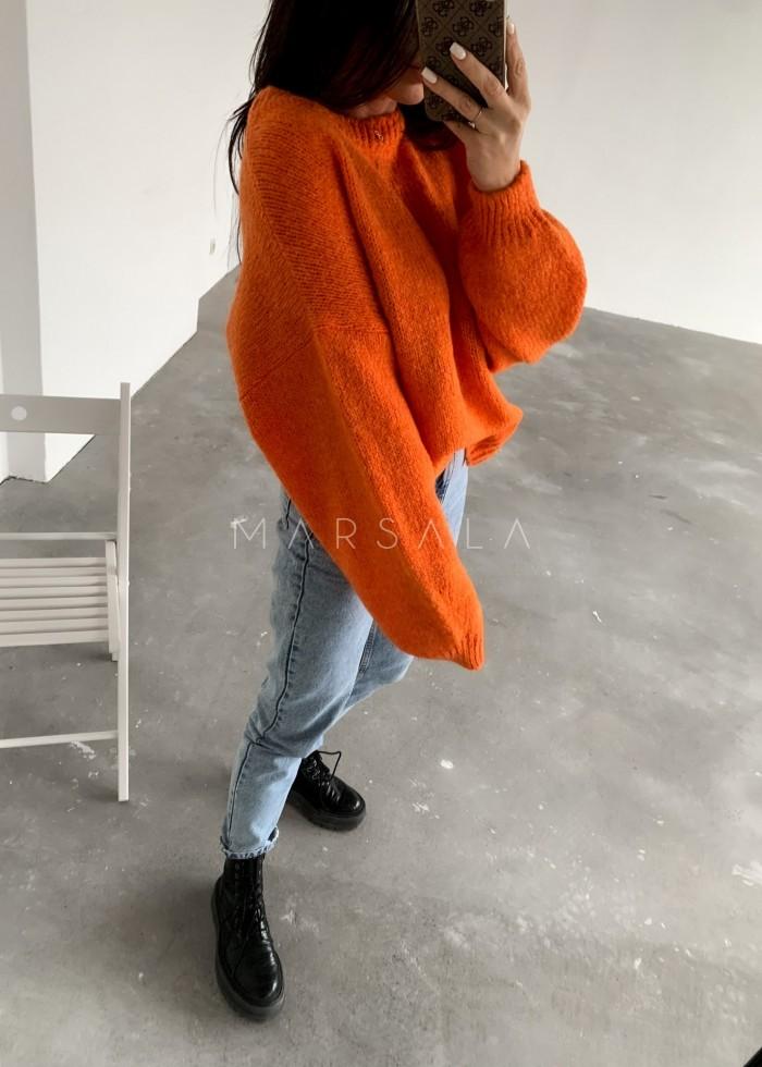 Sweter oversize z bufiastym rękawem orange - RIVERO by Marsala