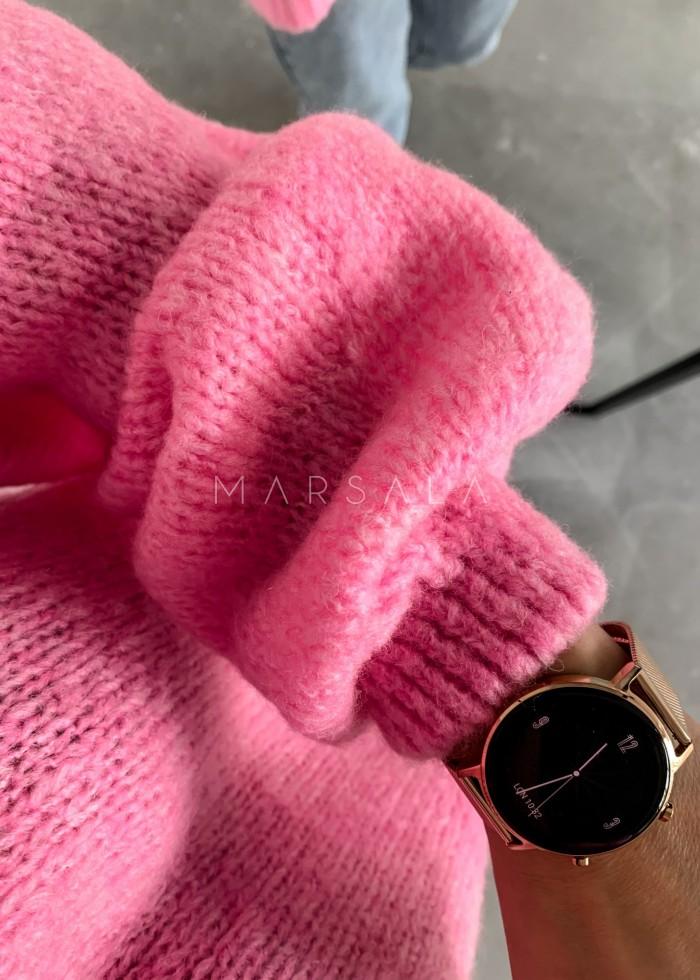 Sweter oversize z bufiastym rękawem neon pink - RIVERO by Marsala