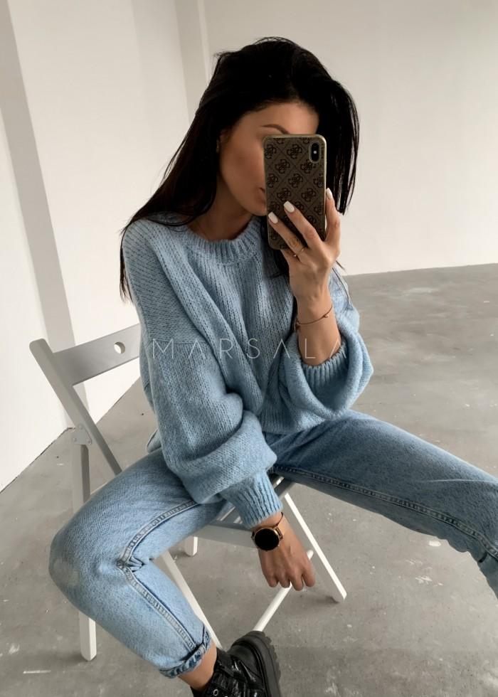 Sweter oversize z bufiastym rękawem baby blue - RIVERO by Marsala