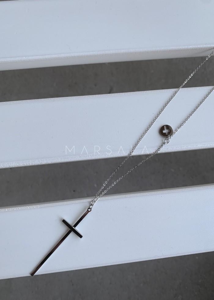 Naszyjnik ze srebrnej stali chirurgicznej z krzyżem - CROSS