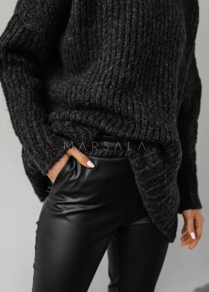 Gruby sweter z mięsistej włóczki grafitowy - NEVIS by Marsala