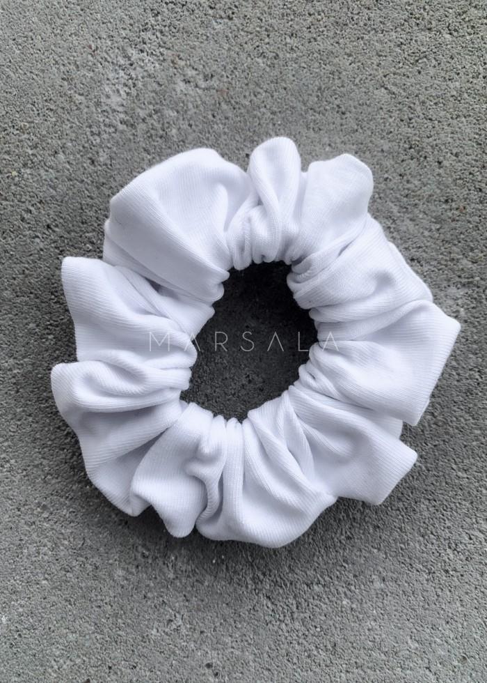 Gumka/frotka do włosów gładka w kolorze białym - EMI by Marsala