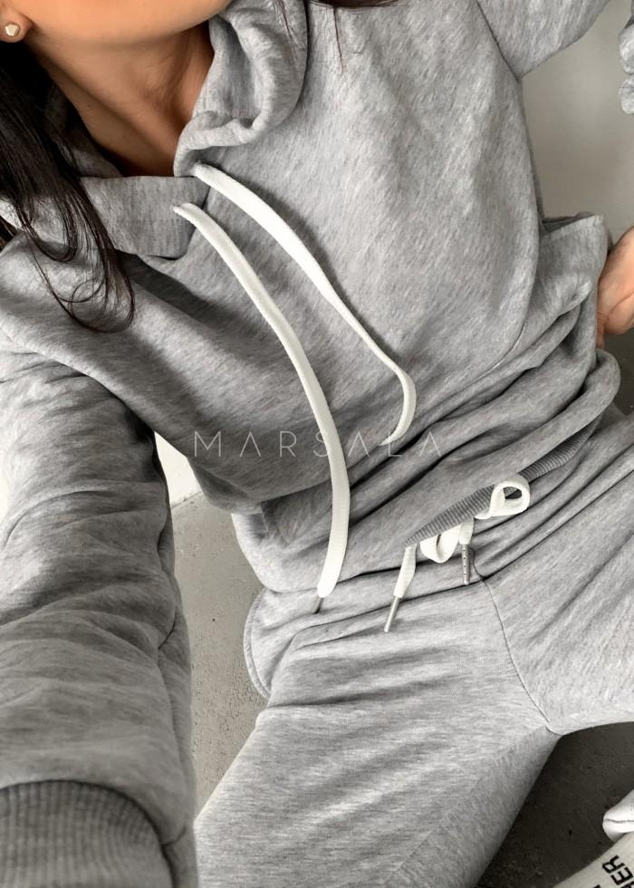 Komplet dresowy bluza + spodnie w kolorze ciemnoszarym - CASUAL BY MARSALA