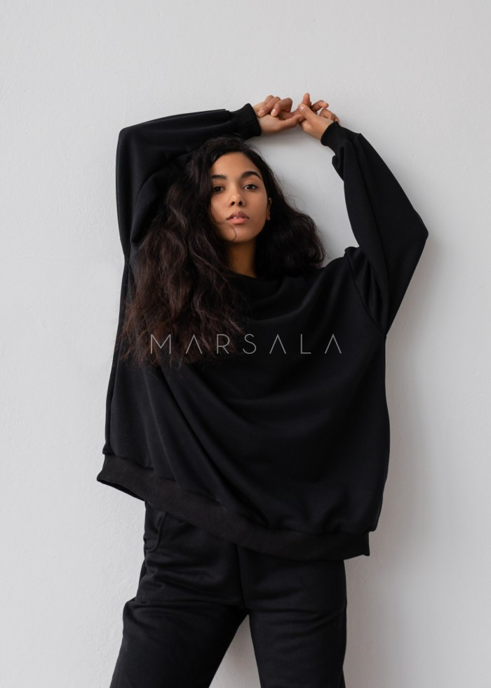 Oversized elongated blouse in BLACK HUSH BY MARSALA