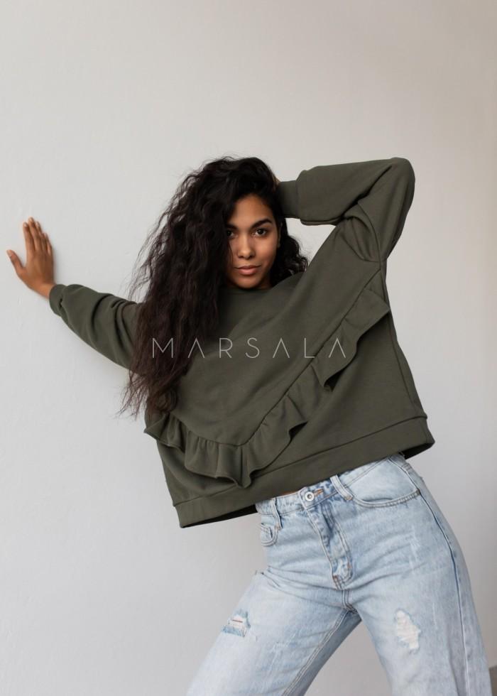 Bluza damska oversize z falbanką na dole khaki - ANGEL by Marsala