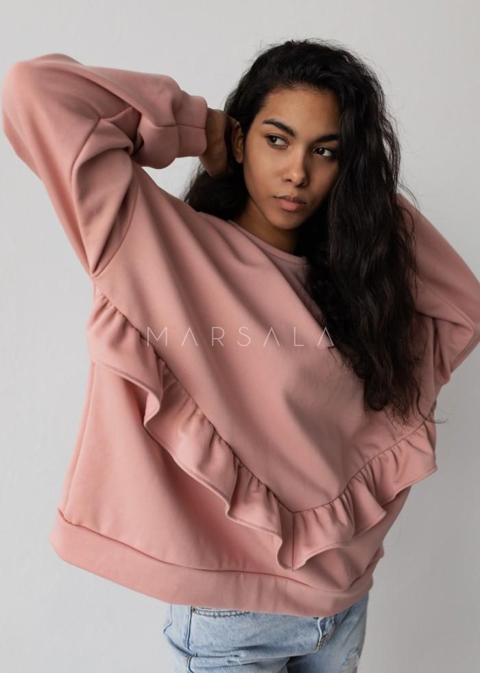Bluza damska oversize z falbanką na dole różowa - ANGEL by Marsala