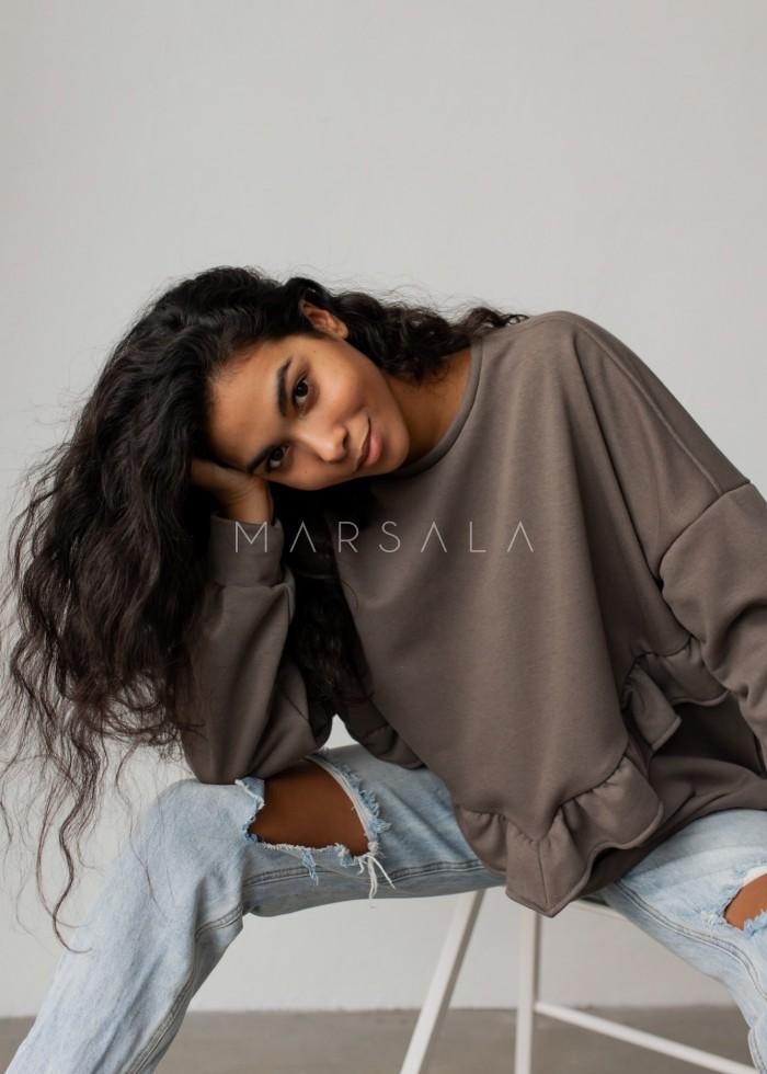 Bluza damska oversize z falbanką na dole ciemna oliwka - ANGEL by Marsala