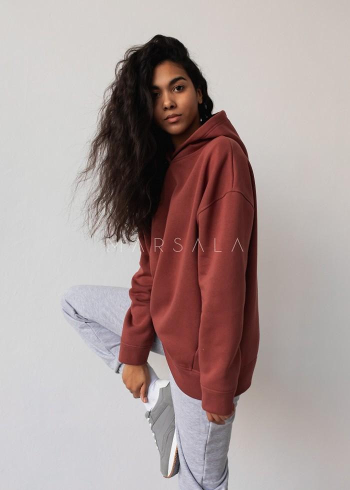 Bluza z kapturem w kolorze MAROON BROWN - CARDIFF BY MARSALA