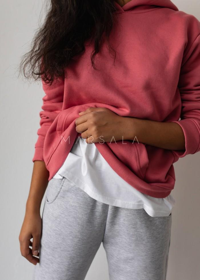 Bluza BASIC BY MARSALA z kapturem malinowa