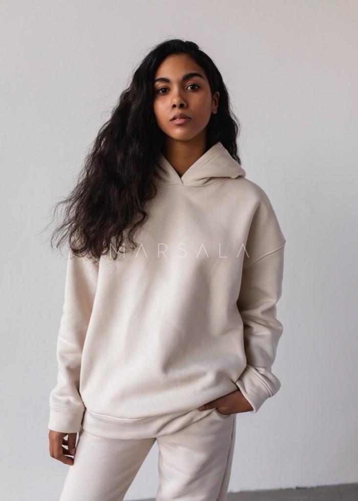 Bluza z kapturem w kolorze WHITE SAND - CARDIFF BY MARSALA