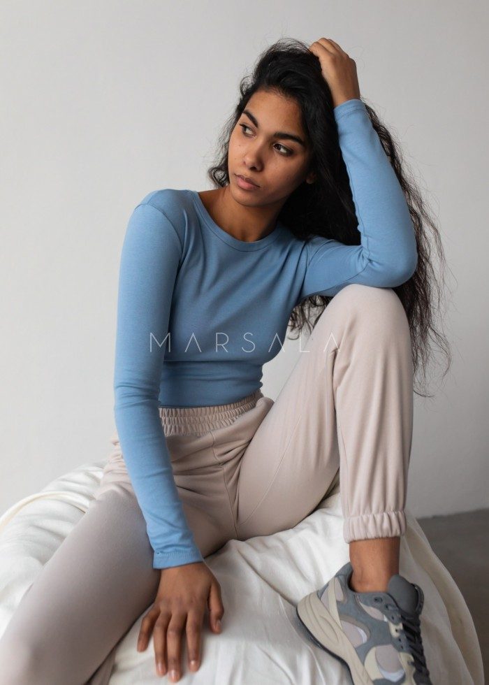 Fitted long sleeve top in CLASSIC BLUE - MOODY BY MARSALA