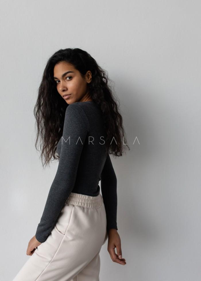 Dopasowany top z długim rękawem w kolorze graphite melange - MOODY BY MARSALA