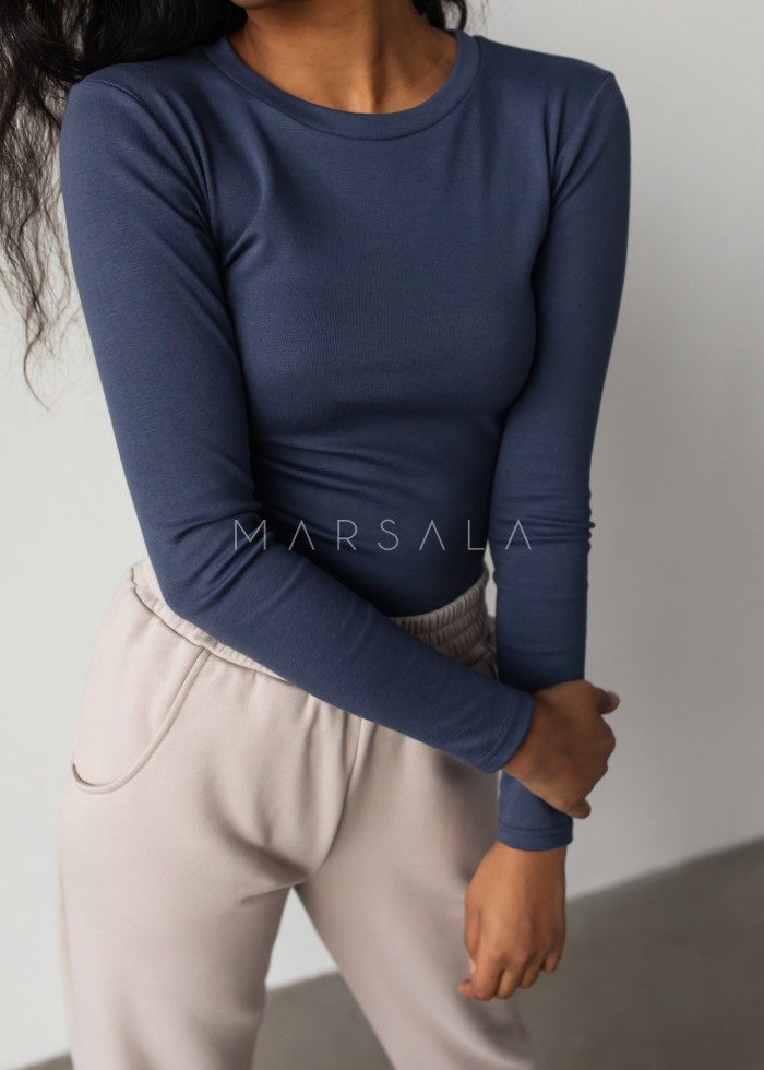 Fitted long sleeve top in NAVY BLUE - MOODY BY MARSALA