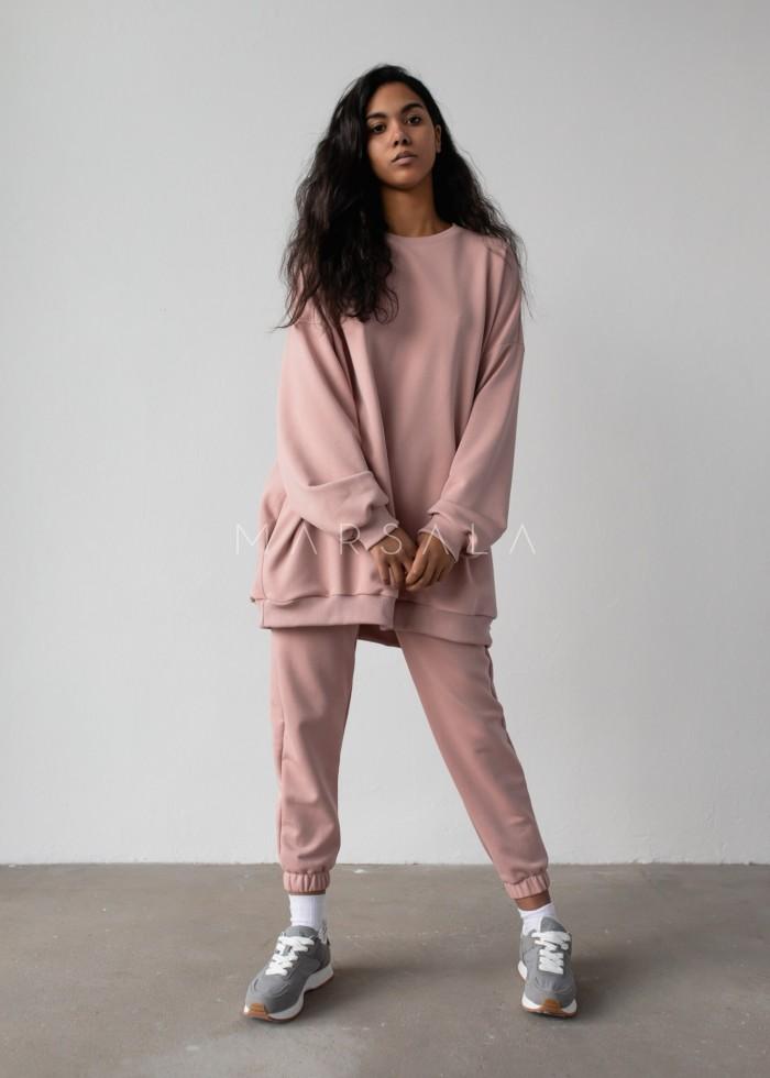 Bluza typu oversize o przedłużonym kroju kolor DUSTY PINK HUSH BY MARSALA
