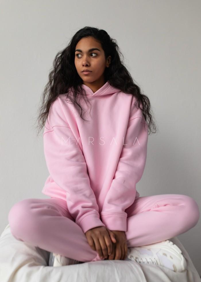 Bluza z kapturem w kolorze BARBIE PINK - CARDIFF by Marsala