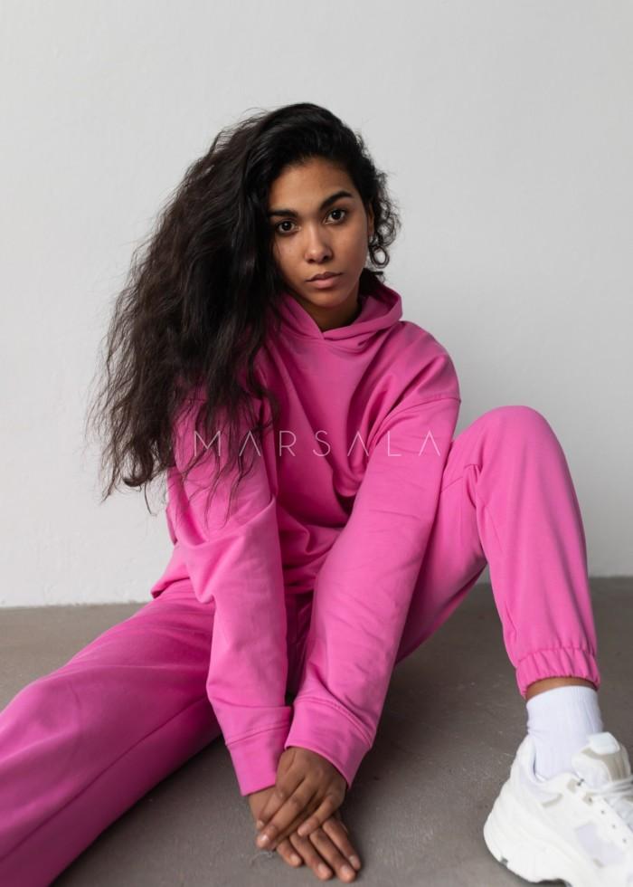 Bluza z kapturem w kolorze NEON PINK - CARDIFF by Marsala