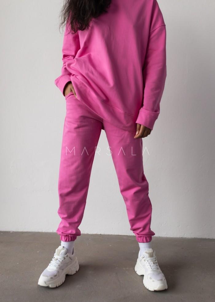 Spodnie dresowe typu jogger w kolorze NEON PINK - DISPLAY by Marsala