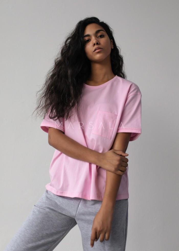 T-shirt damski w kolorze jasnorożowym z kieszonką SPLIT BARBIE PINK by Marsala