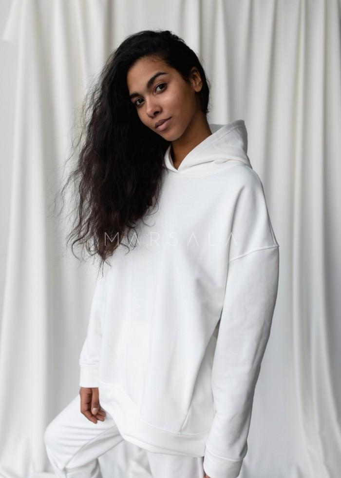 Bluza z kapturem w kolorze OFF WHITE - CARDIFF BY MARSALA
