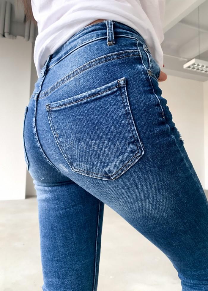 Spodnie jeansowe z wysokim stanem i przetarciami - CARTER