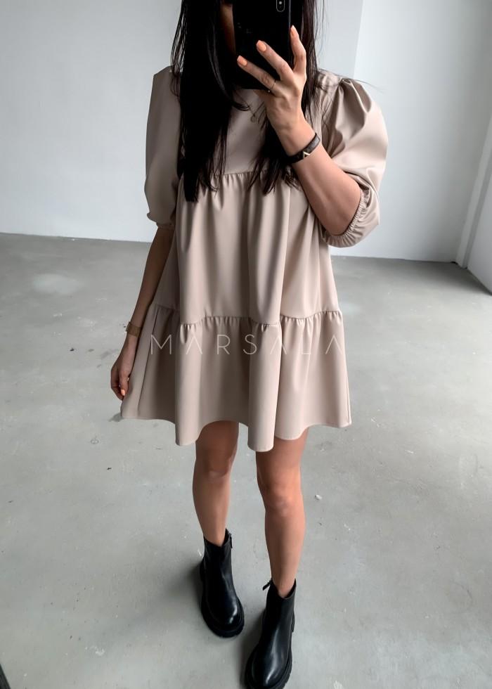 Sukienka rozkloszowana z eko skóry z przeszyciami beżowa - AMY LEATHER BY MARSALA