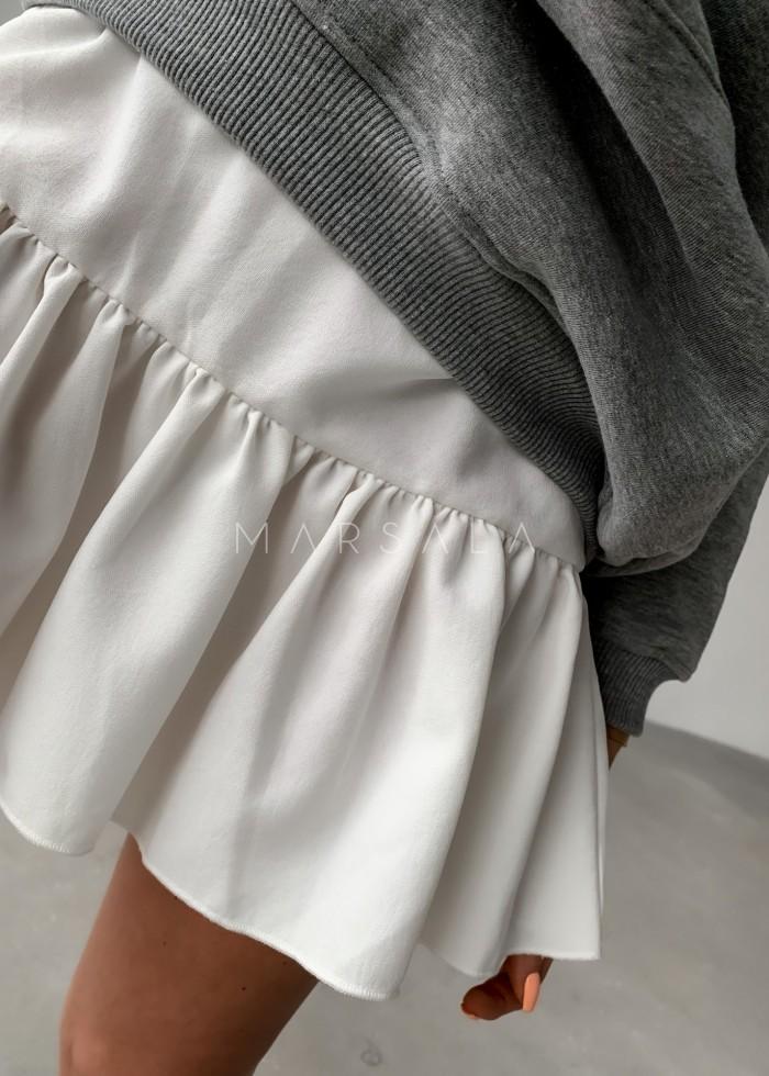 Spódniczka mini w kolorze ecru z falbanką na dole - MISSY BY MARSALA