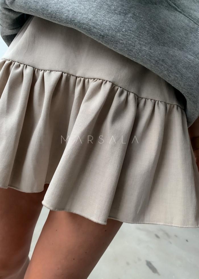 Spódniczka mini w kolorze beżowym z falbanką na dole - MISSY BY MARSALA