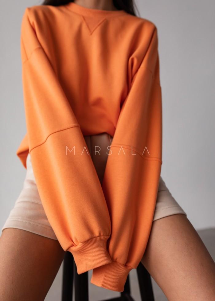 Women's smooth sweatshirt in EXOTIC ORANGE - SANDY BY MARSALA