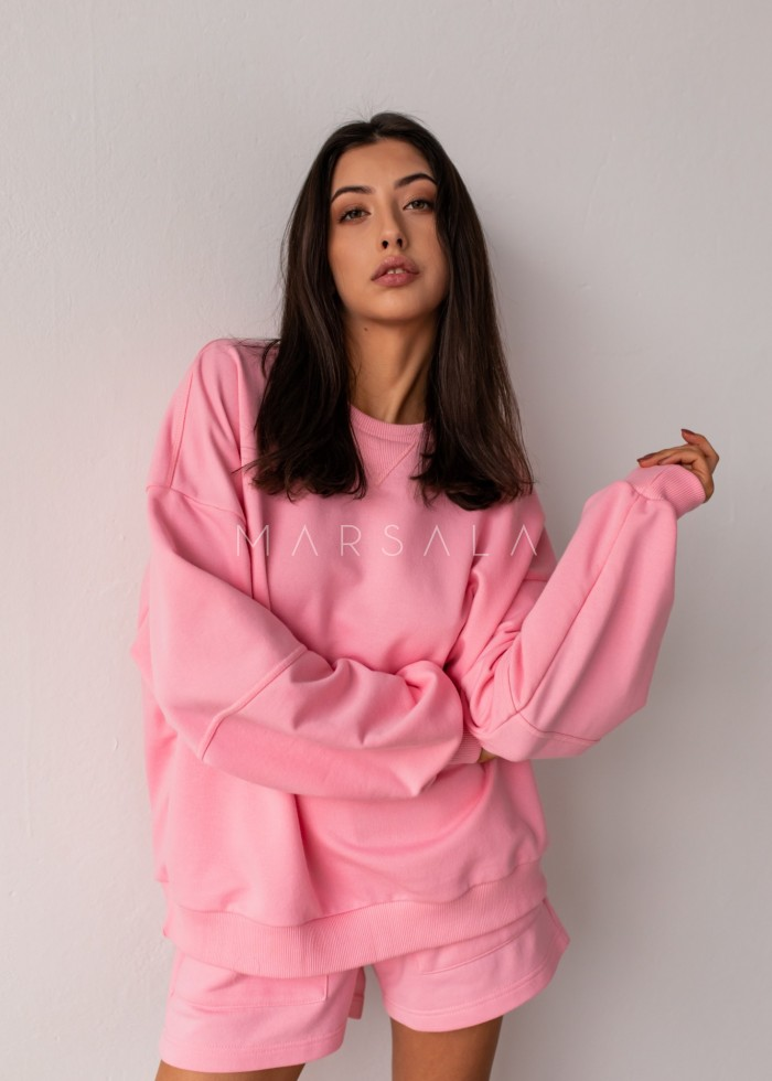 Women's smooth sweatshirt in CANDY PINK - SANDY BY MARSALA