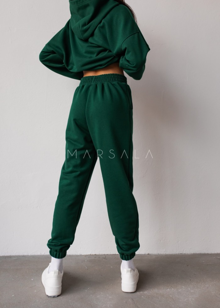Jogger pants in DEEP FOREST GREEN- DISPLAY BY MARSALA