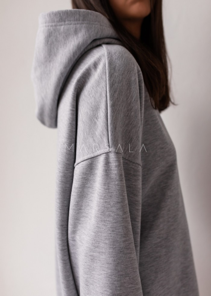 Oversize extended sweatshirt with hood, GREY MELANGE CRUSH BY MARSALA