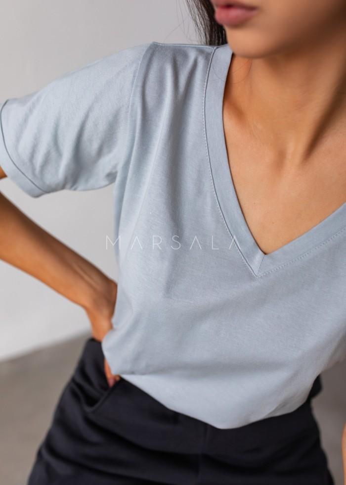 T shirt z dekoltem w kształcie V w kolorze FADED DENIM- V NECK BY MARSALA