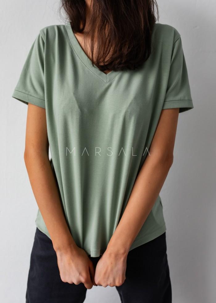 T shirt z dekoltem w kształcie V w kolorze GREEN TINT - V NECK BY MARSALA