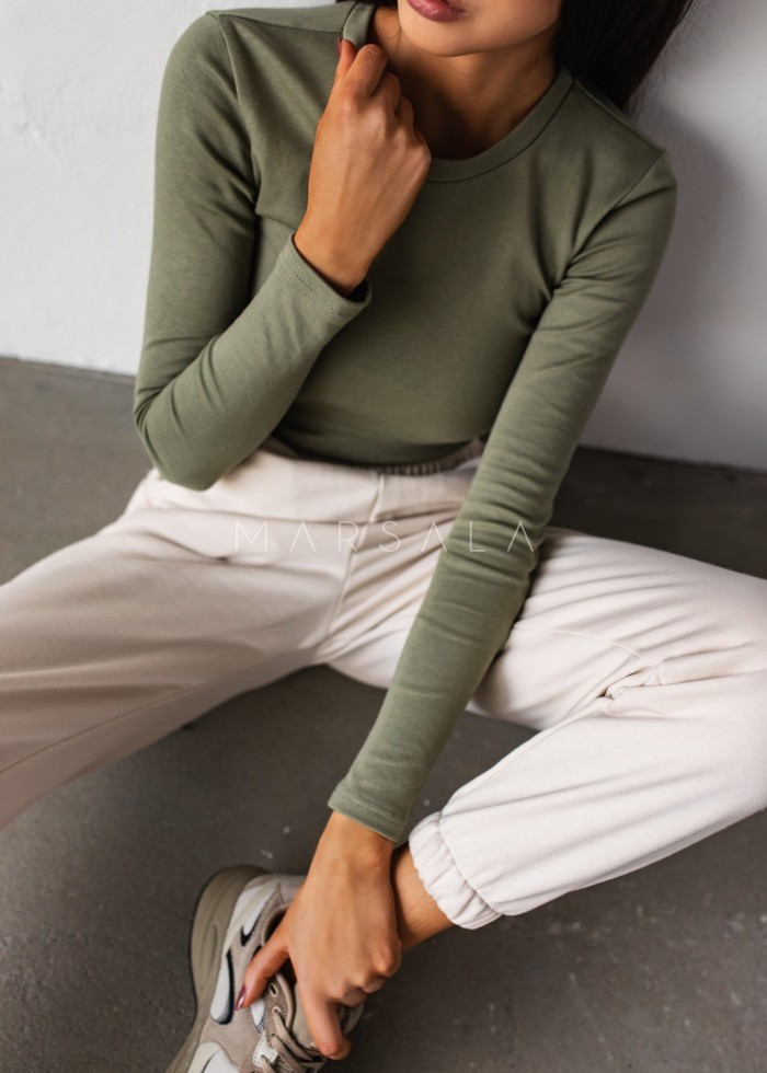 Fitted long sleeve top in SMOKE GREEN - MOODY BY MARSALA