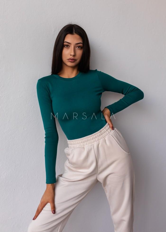 Dopasowany top z długim rękawem w kolorze BOTTLE GREEN - MOODY BY MARSALA
