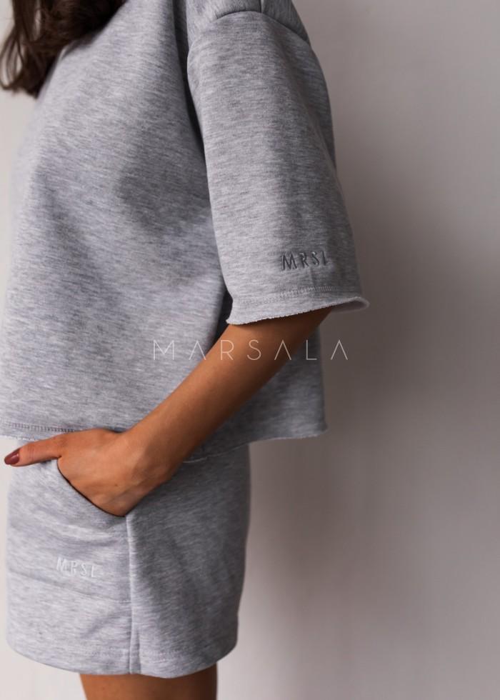 Luźny top z dzianiny dresowej w kolorze GREY MELANGE - NASTY BY MARSALA