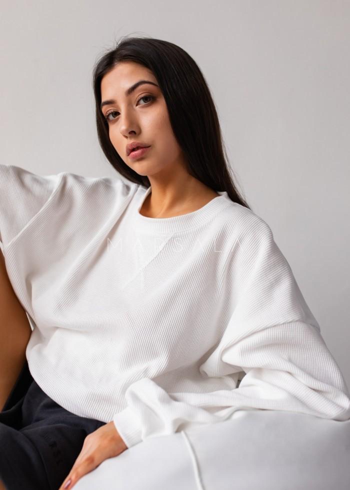 Bluza z cienkiej dzianiny waflowej w kolorze ecru - DISTANT WHITE BY MARSALA