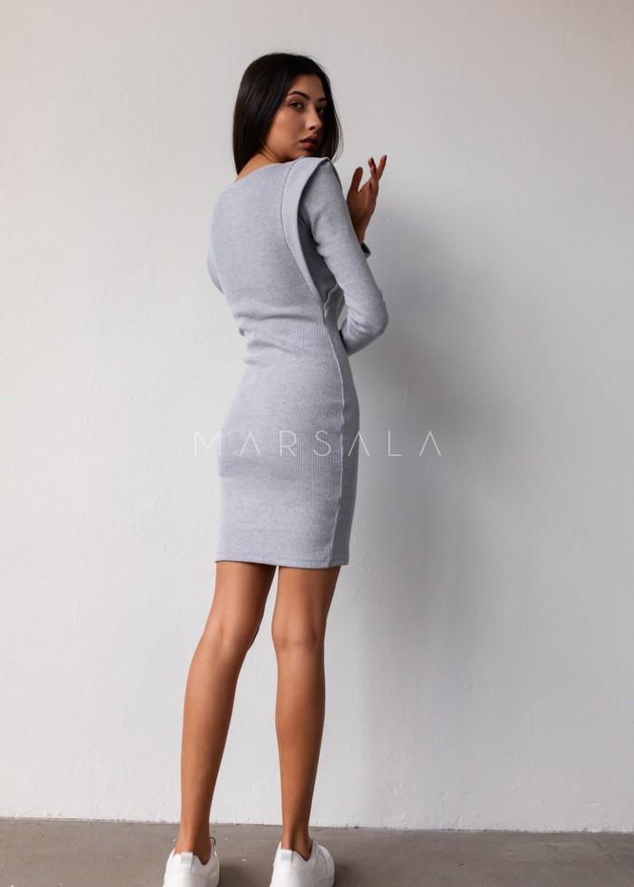 Sukienka dopasowana z pagonami w kolorze szarym- FLEXY by Marsala