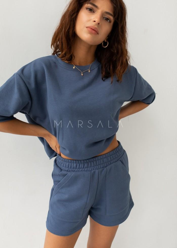 Luźny top z dzianiny dresowej w kolorze BREEZY BLUE - NASTY BY MARSALA