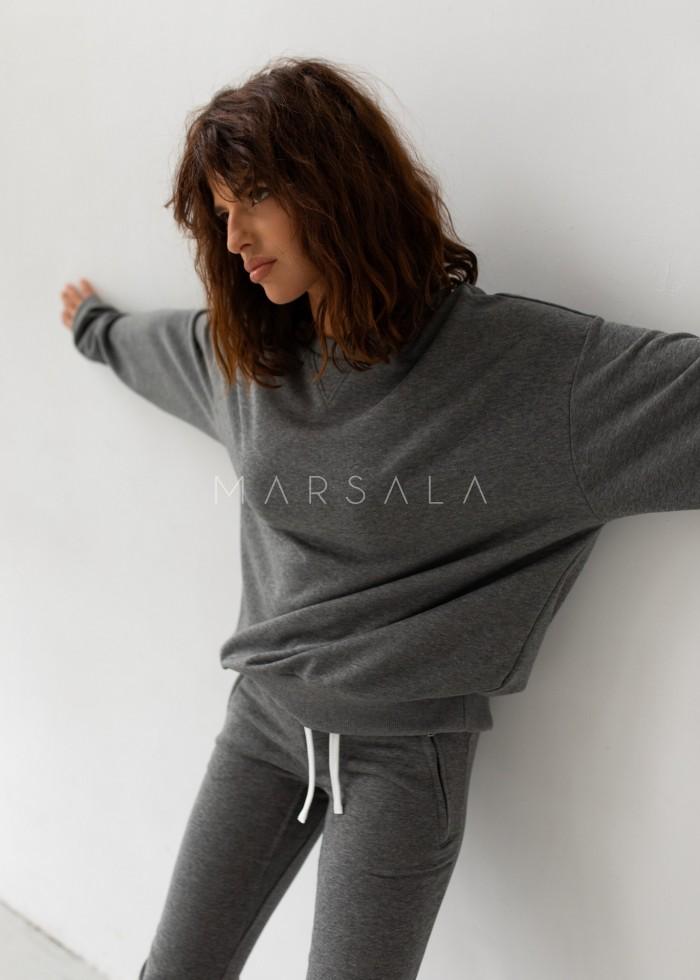 Regular fit women's sweatshirt DARK GRAY MELANGE - BASKET BY MARSALA
