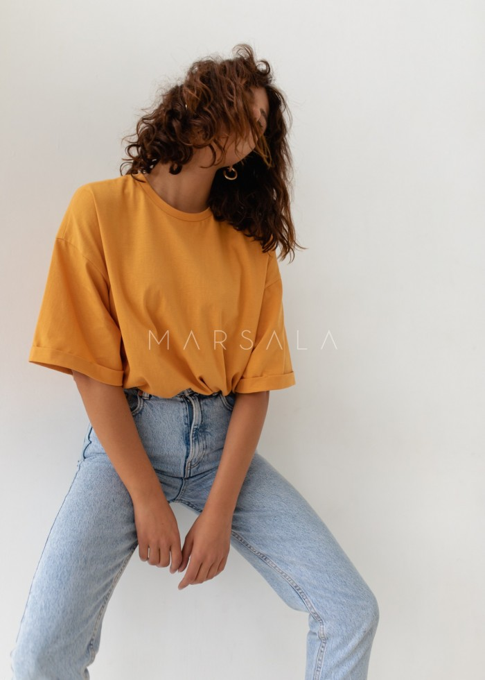 T-shirt typu oversize w kolorze LIGHT PEACH - COY BY MARSALA