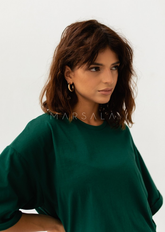 Oversized T-shirt in DEEP FOREST GREEN- COY BY MARSALA