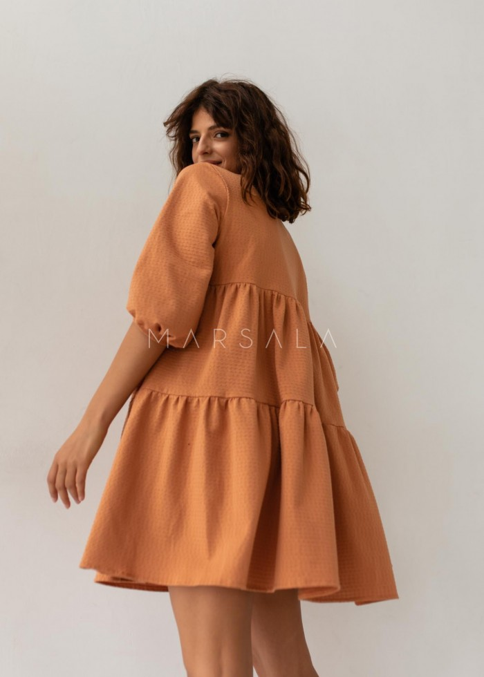 Oversized dress with orange topstitching with dots - BLUSH by Marsala