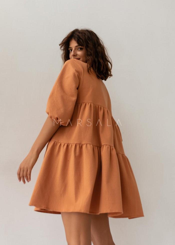 Sukienka oversize z przeszyciami pomarańczowa z kropeczkami- BLUSH by Marsala