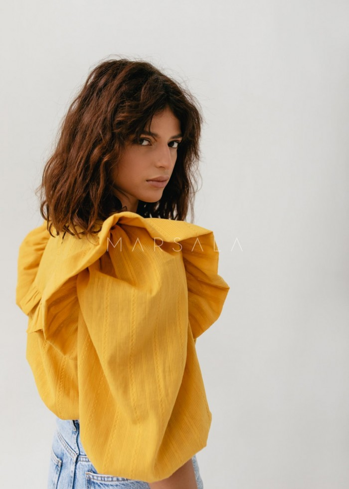 Frill blouse made of structured material MUSTARD - ALICANTE BY MARSALA