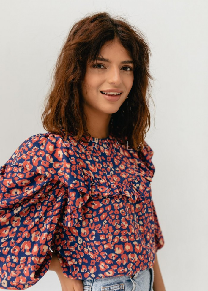 Ruffled blouse with NAVY-RED PANTHER print - ALICANTE BY MARSALA