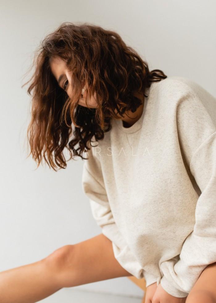 Bluza damska o kroju regular fit w kolorze BEIGE z dodatkiem konopii - BASKET KONOPIA BY MARSALA