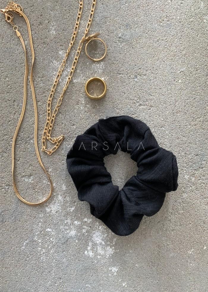 Gumka/frotka do włosów czarna w delikatne paseczki EMI by MARSALA