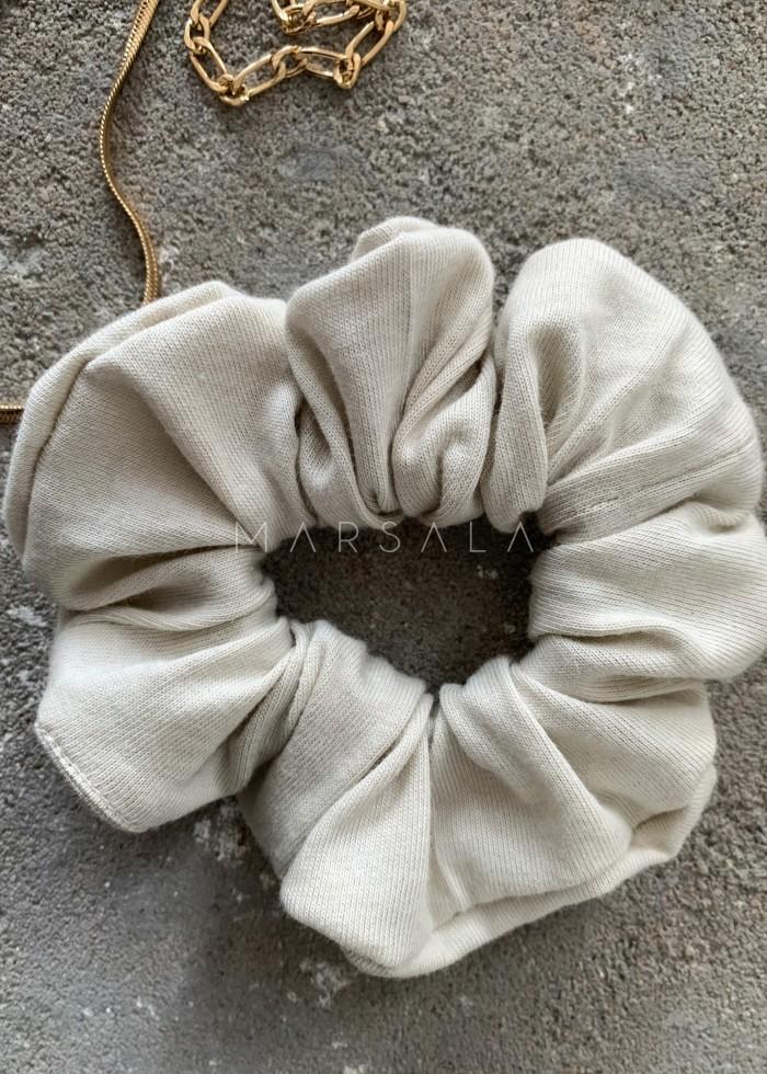 Gumka/frotka do włosów z cienkiej bawełny kolor cannoli cream EMI by MARSALA