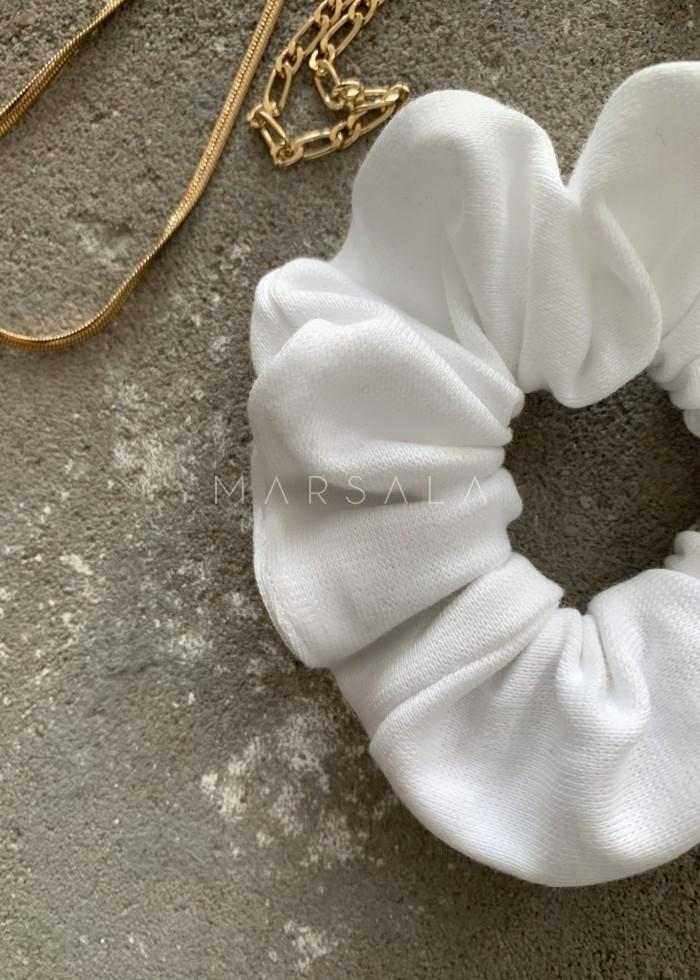 Gumka/frotka do włosów z dzianiny prążkowanej w kolorze all white EMI by MARSALA